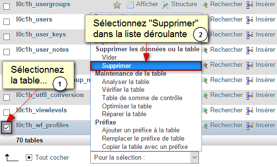 Suppression de la table des profils JCE